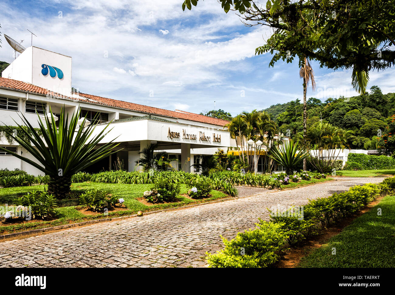 Entrance of Aguas Mornas Palace Hotel. Aguas Mornas, Santa Catarina, Brazil. Stock Photo