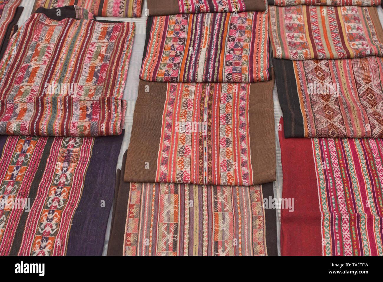 Traditional Yampara textiles for sale, Tarabuco, Bolivia - Stock Image