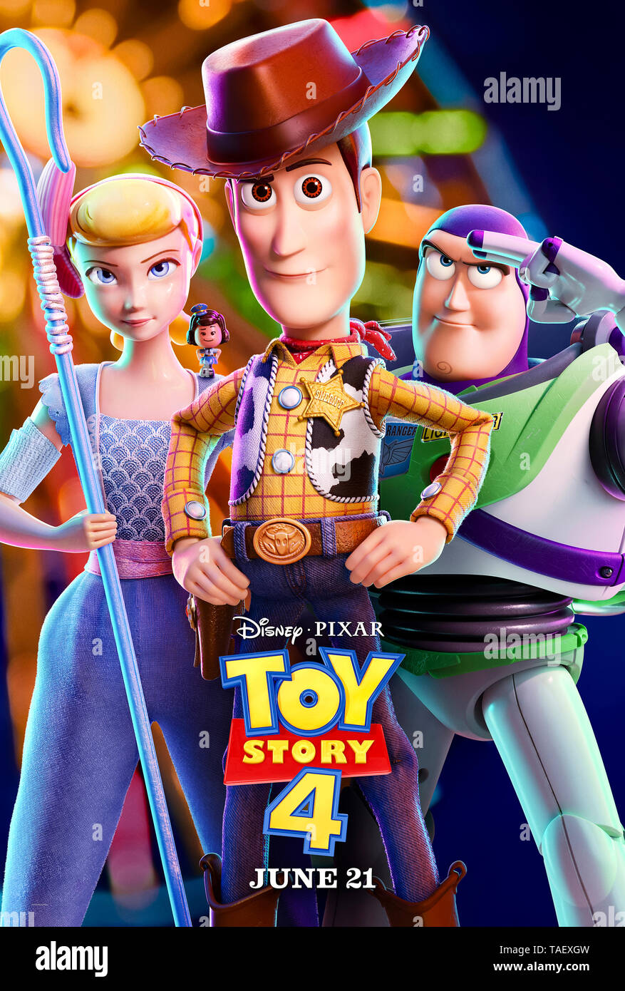 Toy Story 4 (2019) directed by Josh Cooley and starring  Keanu Reeves, Christina Hendricks, Tom Hanks and Tim Allen. The toys are joined by a new arrival and undertake a road trip. - Stock Image