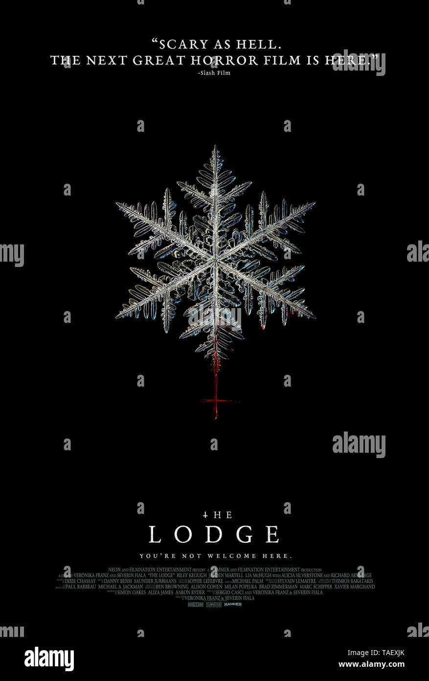 The Lodge (2019) directed by Severin Fiala and Veronika Franz and starring Riley Keough, Alicia Silverstone, Richard Armitage and Jaeden Martell. An extended family are snowed in when mysterious events make them feel unwelcome. - Stock Image