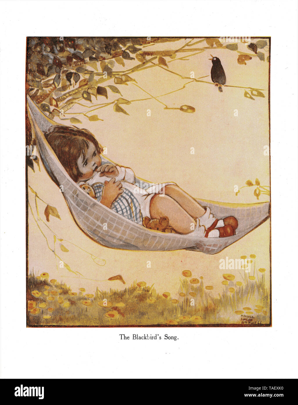 The Lucie Attwell Annual - 1922. Illustration from the rhyme 'The Blackbird's Song' in the first ever Lucie Attwell Annual of 1922 Stock Photo