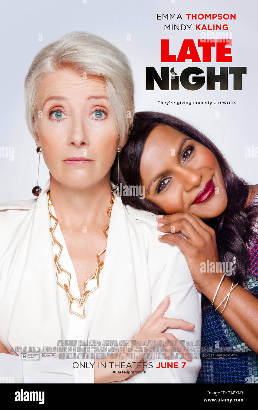 Late Night (2019) directed by Nisha Ganatra and starring  Emma Thompson, Mindy Kaling and John Lithgow. - Stock Image