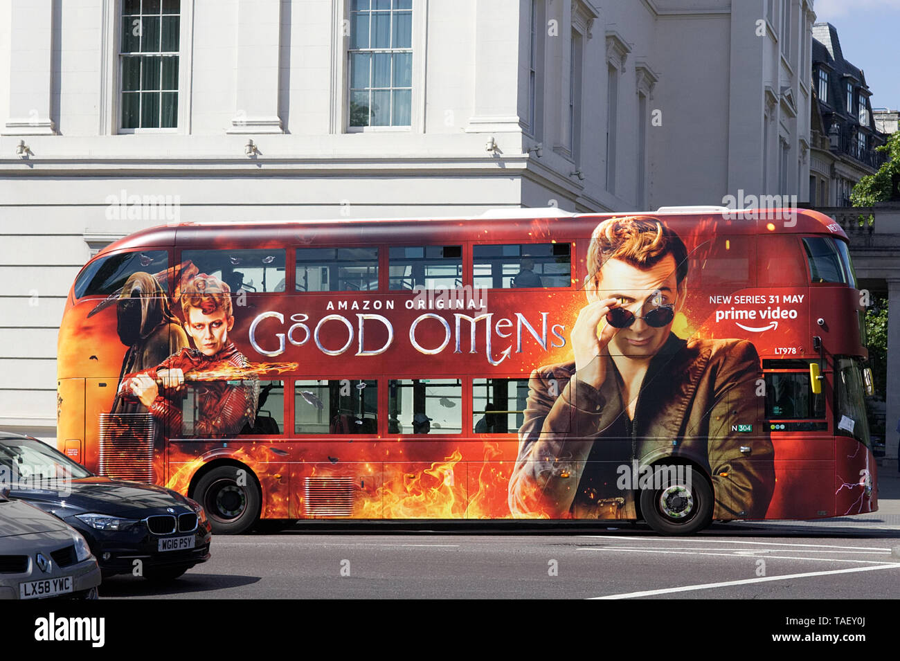 Good Omens advertised on a London Bus - Stock Image