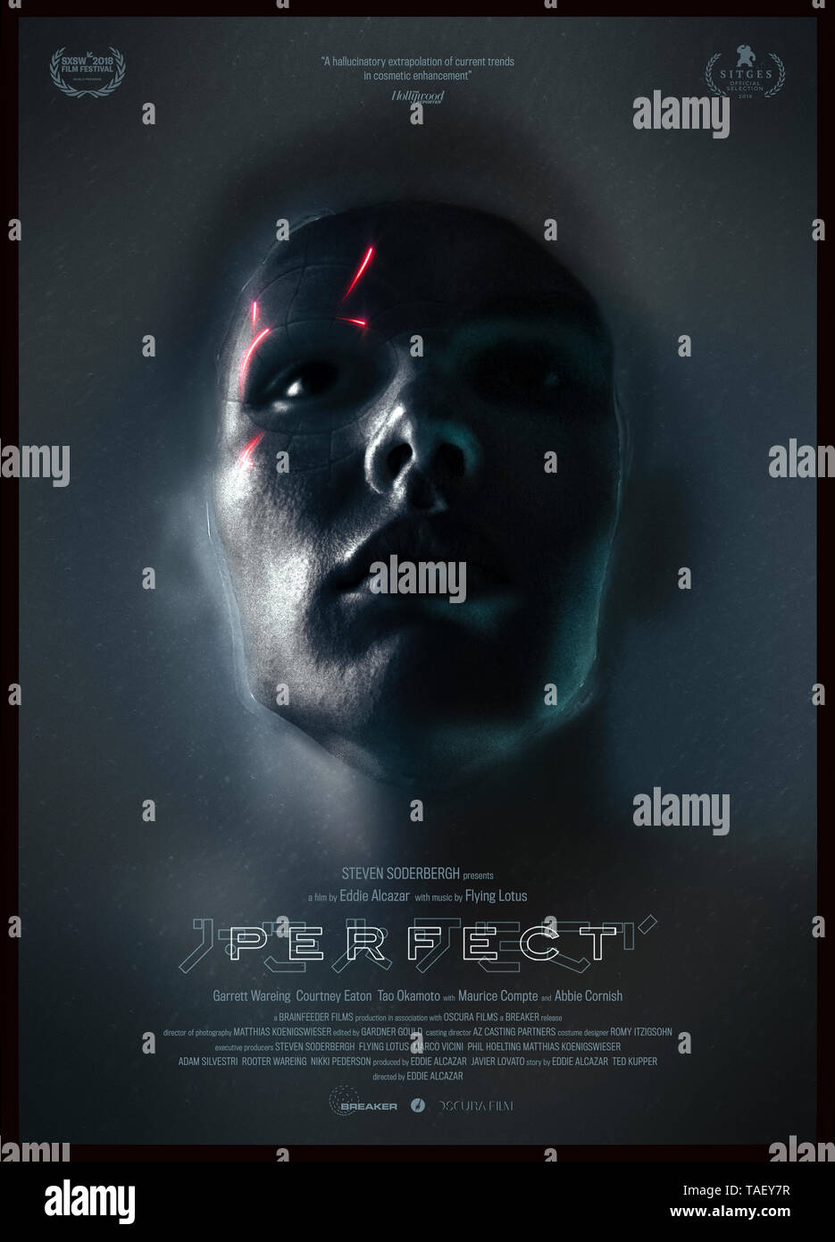 Perfect (2018) directed by  Eddie Alcazar and starring Abbie Cornish, Courtney Eaton and Tao Okamoto. A boy haunted by a dark past undergoes treatment at a mysterious clinic. Stock Photo