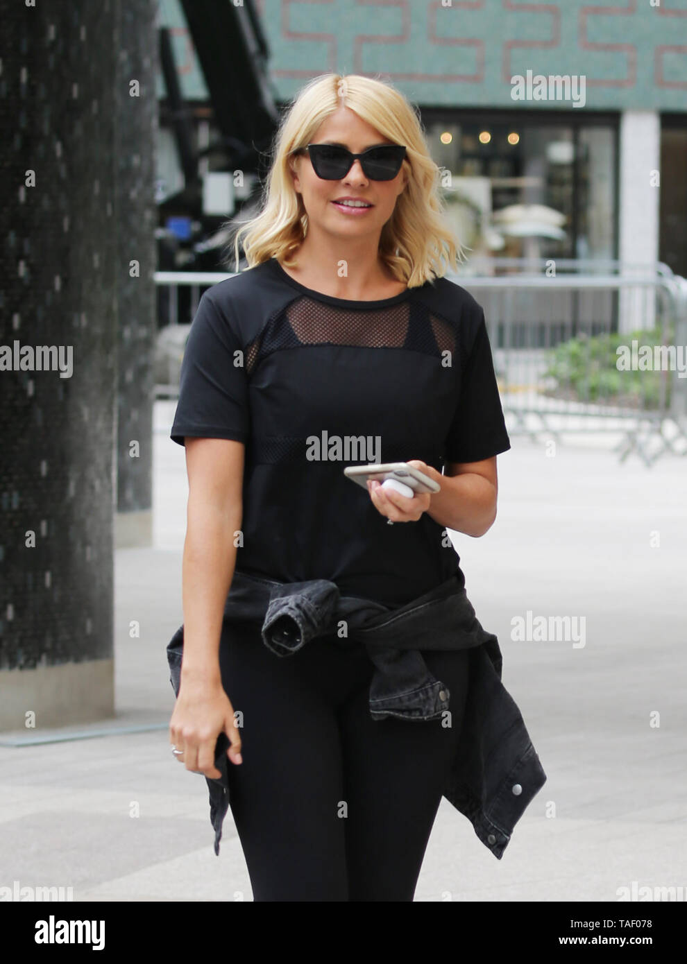 Holly Willoughby in her gym gear outside ITV Studios  Featuring: Holly Willoughby Where: London, United Kingdom When: 23 Apr 2019 Credit: Rocky/WENN.com - Stock Image
