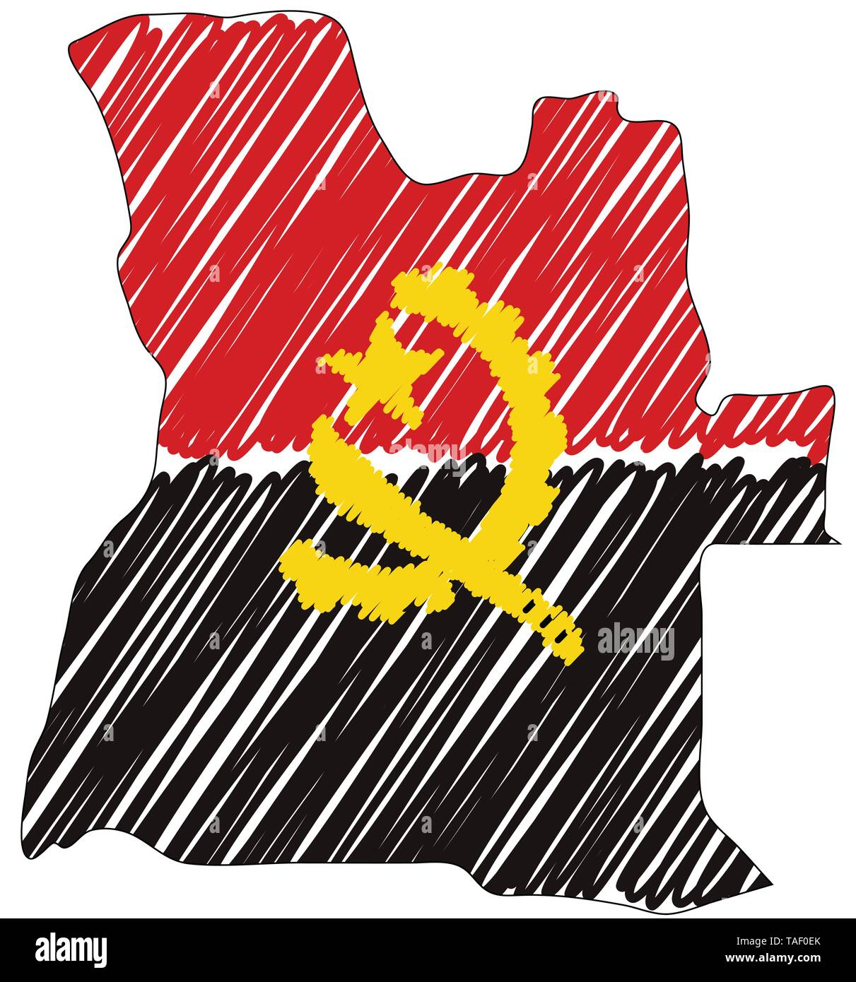Angola map hand drawn sketch. Vector concept illustration flag, childrens drawing, scribble map. Country map for infographic, brochures and - Stock Image