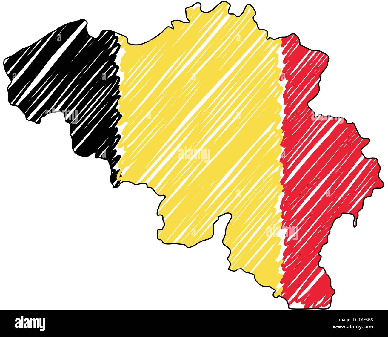 Belgium map hand drawn sketch. Vector concept illustration flag, childrens drawing, scribble map. Country map for infographic, brochures and presentat - Stock Image