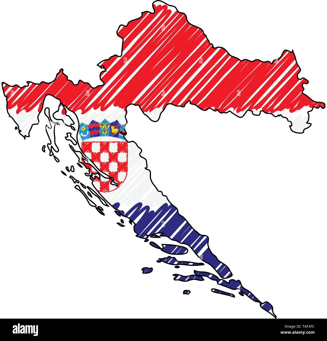 Croatia map hand drawn sketch. Vector concept illustration flag, childrens drawing, scribble map. Country map for infographic, brochures and - Stock Image