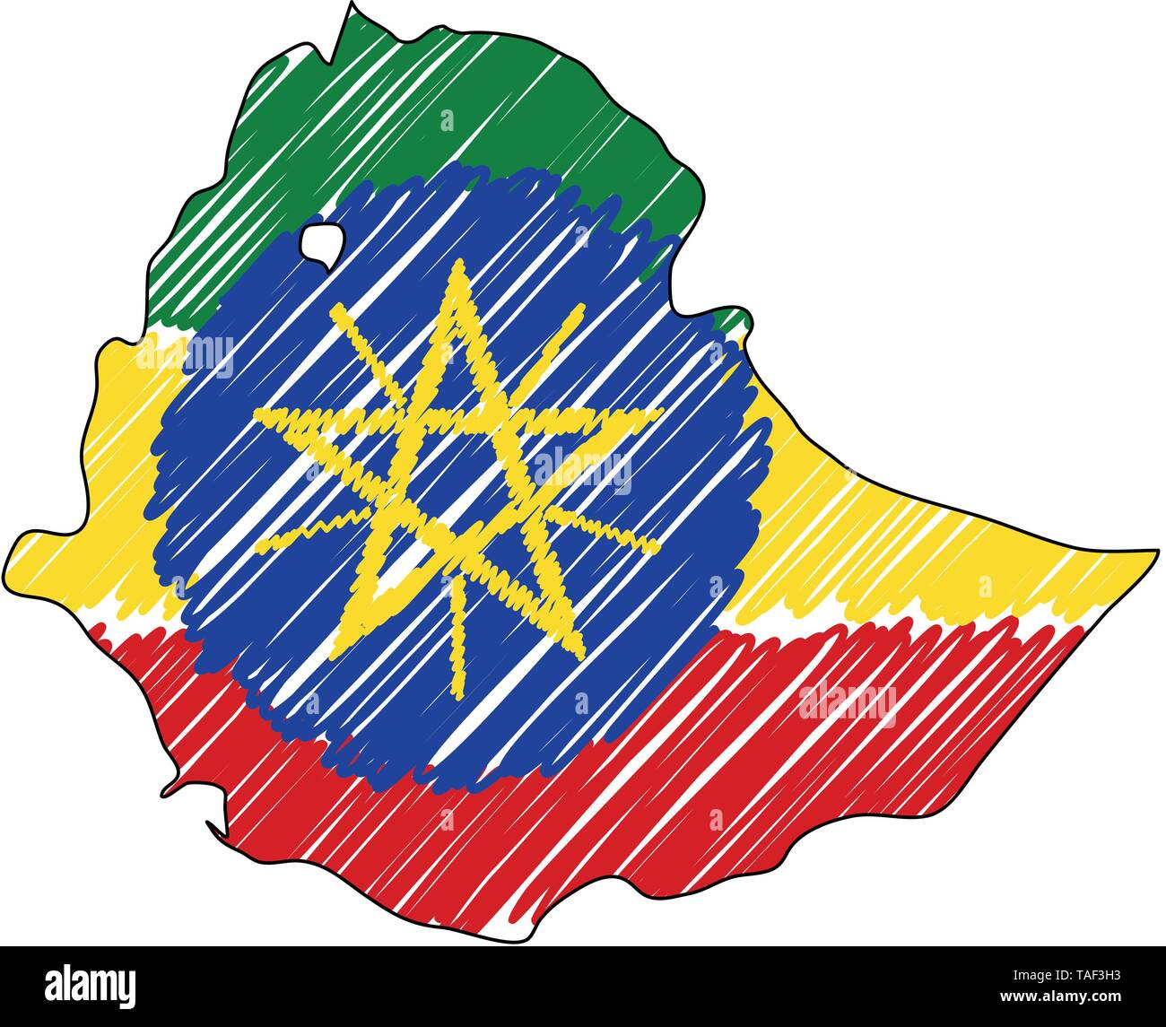 Ethiopia map hand drawn sketch. Vector concept illustration flag, childrens drawing, scribble map. Country map for infographic, brochures and presenta - Stock Image