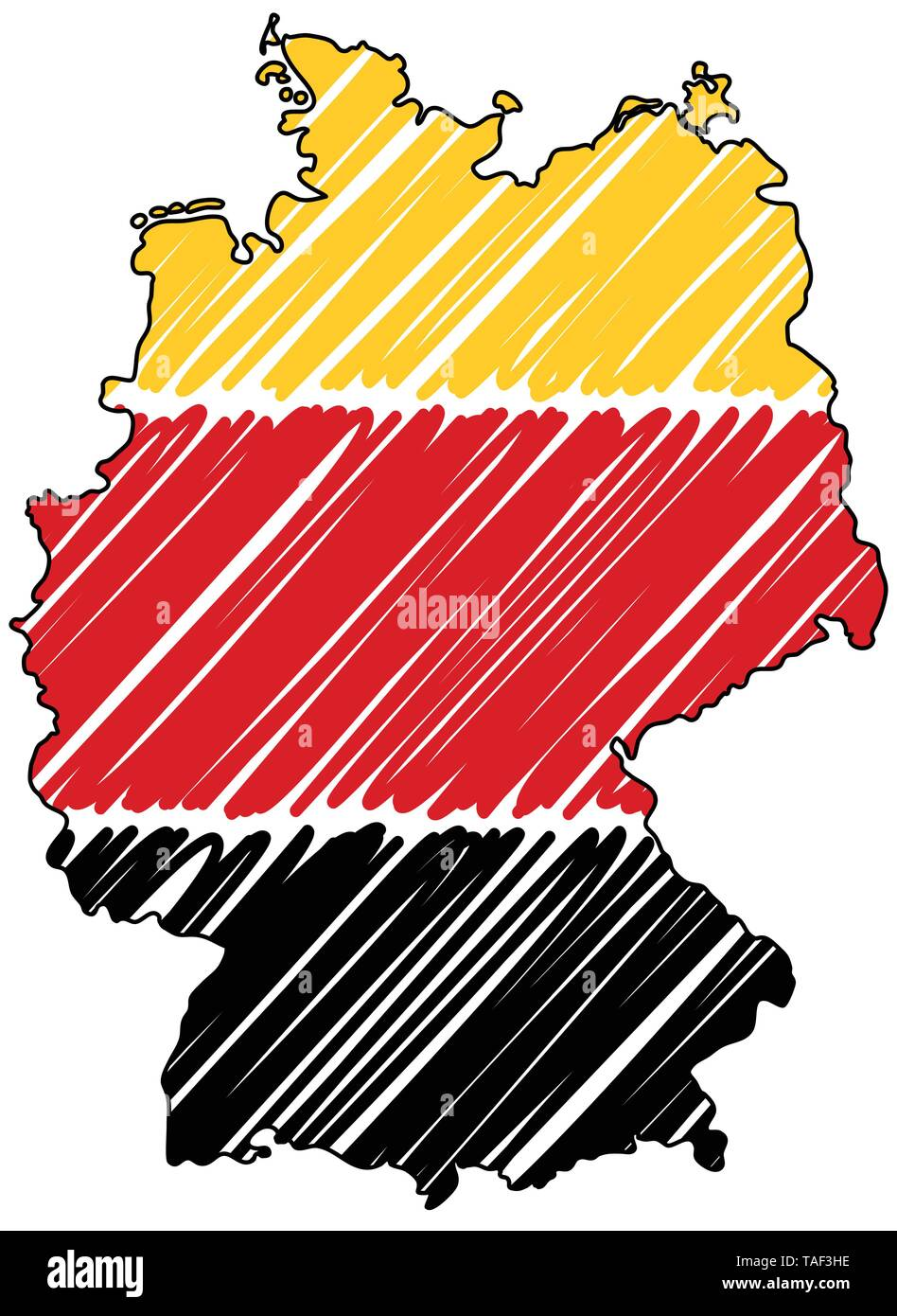 Germany map hand drawn sketch. Vector concept illustration flag, childrens drawing, scribble map. Country map for infographic, brochures and presentat - Stock Image