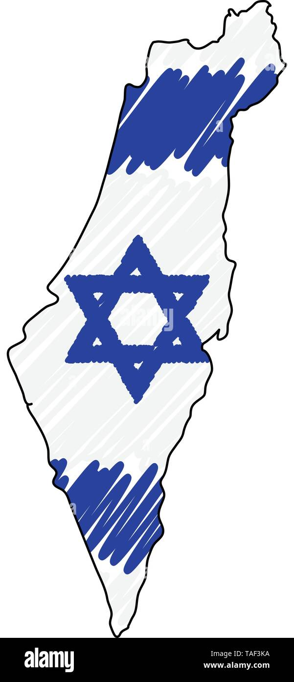 Israel map hand drawn sketch. Vector concept illustration flag, childrens drawing, scribble map. Country map for infographic, brochures and - Stock Vector