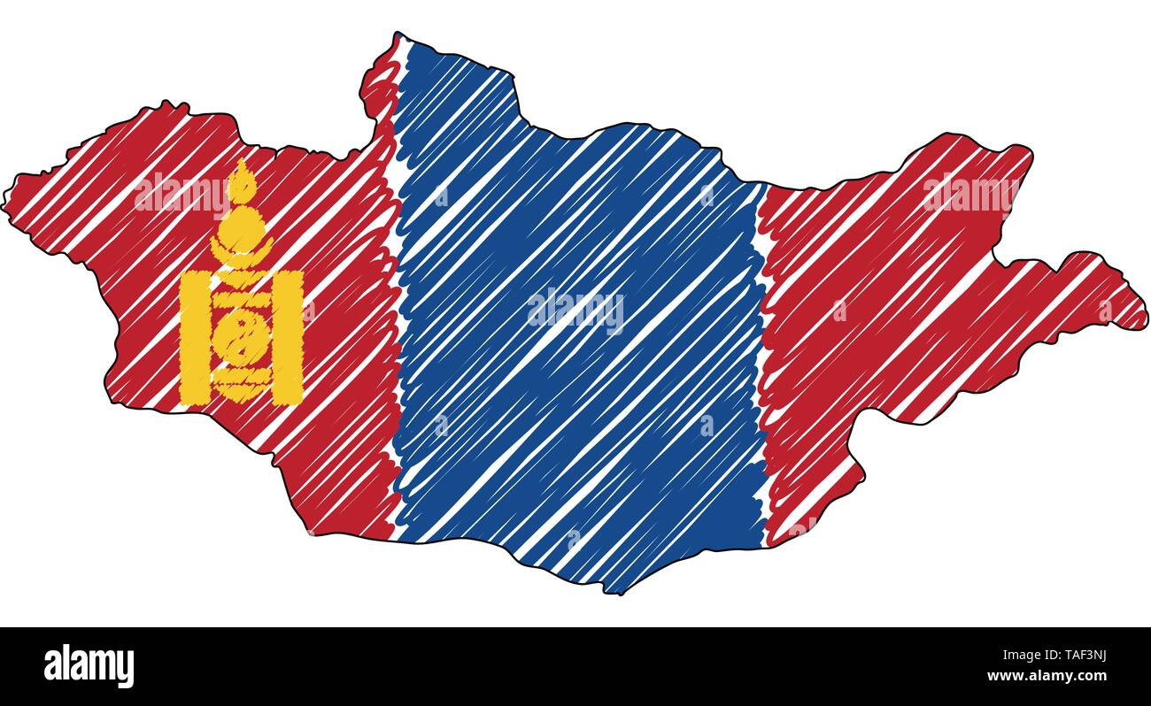 Mongolia map hand drawn sketch. Vector concept illustration flag, childrens drawing, scribble map. Country map for infographic, brochures and - Stock Image