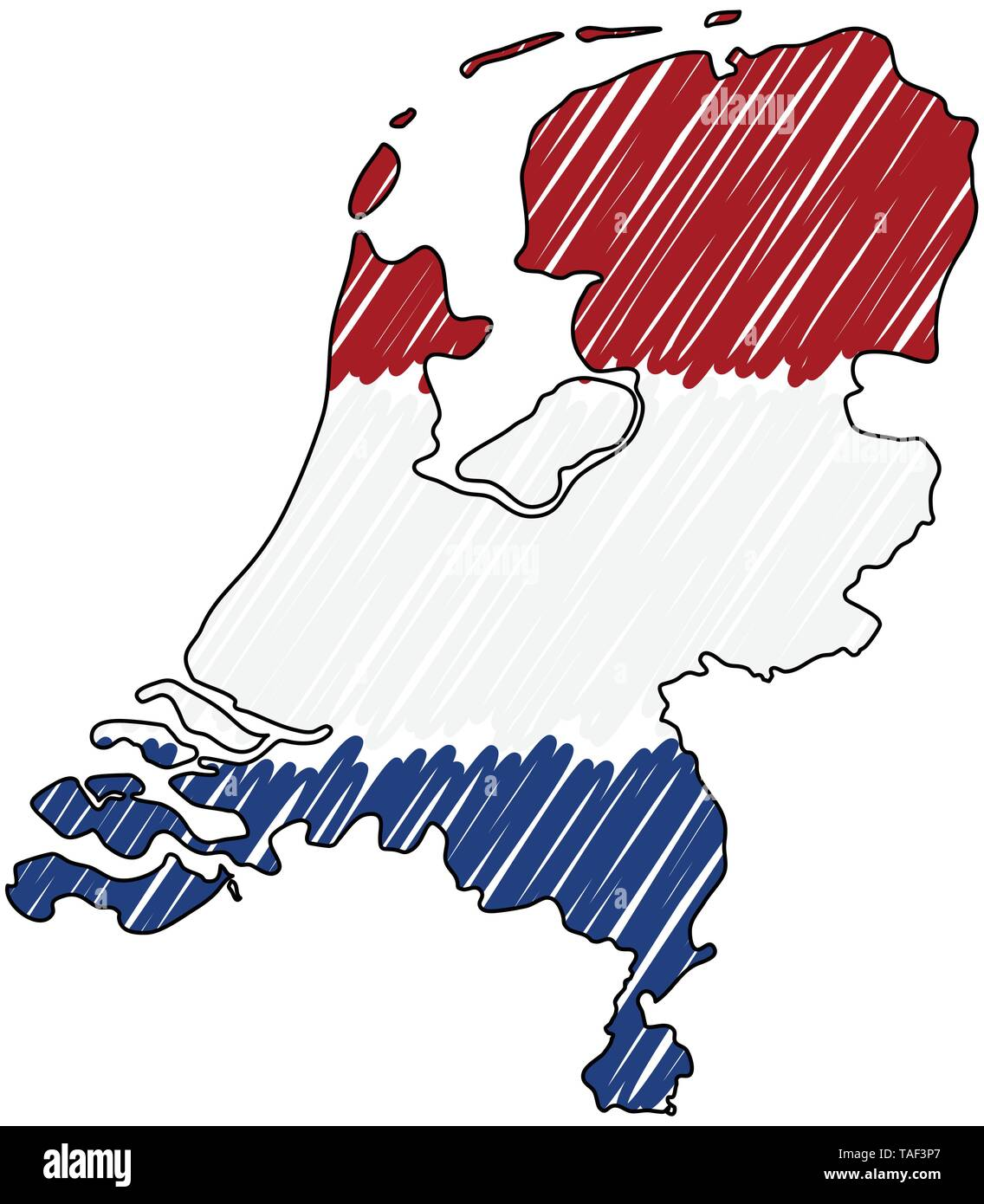 Netherlands map hand drawn sketch. Vector concept illustration flag, childrens drawing, scribble map. Country map for infographic, brochures and - Stock Image