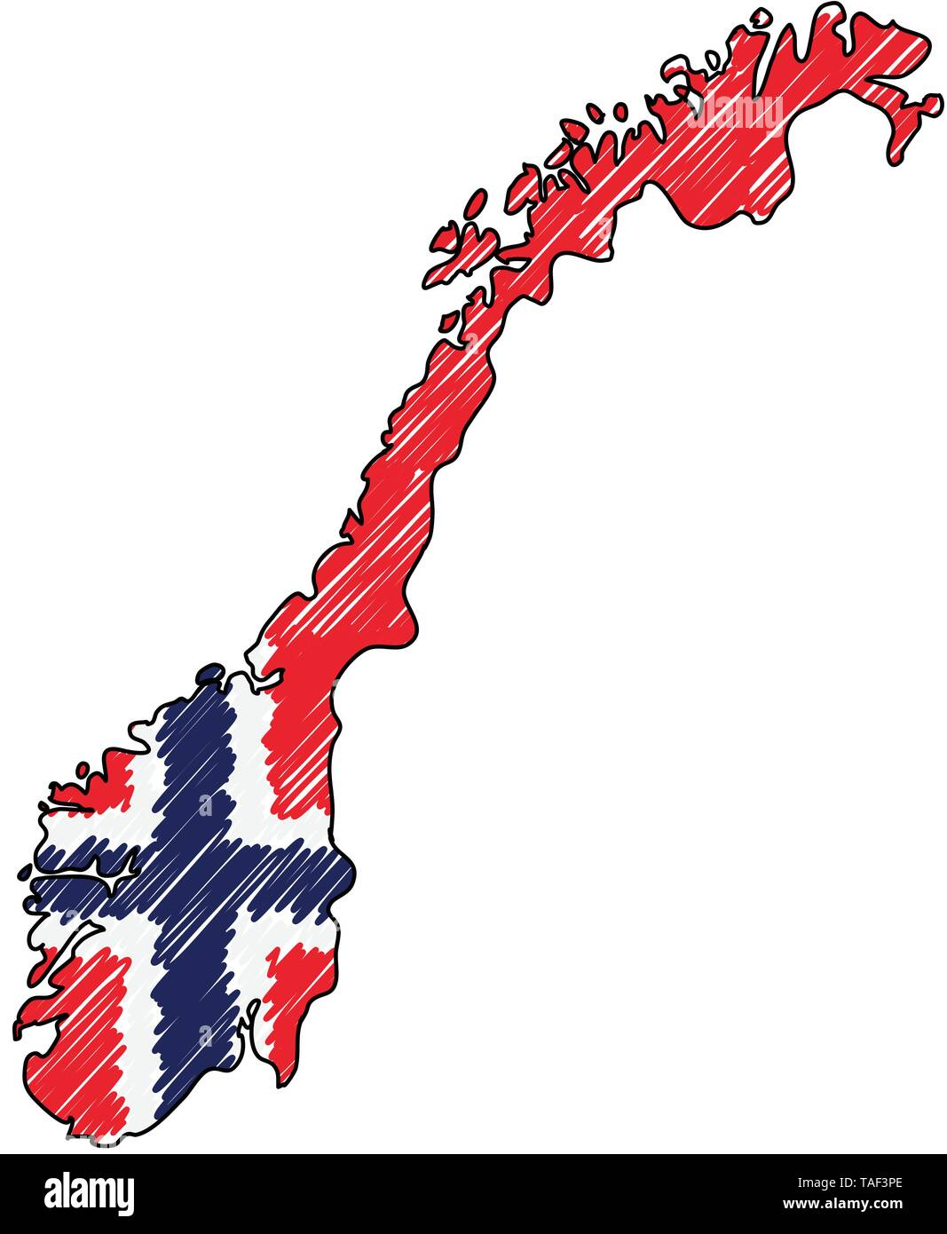 Norway map hand drawn sketch. Vector concept illustration flag, childrens drawing, scribble map. Country map for infographic, brochures and - Stock Image