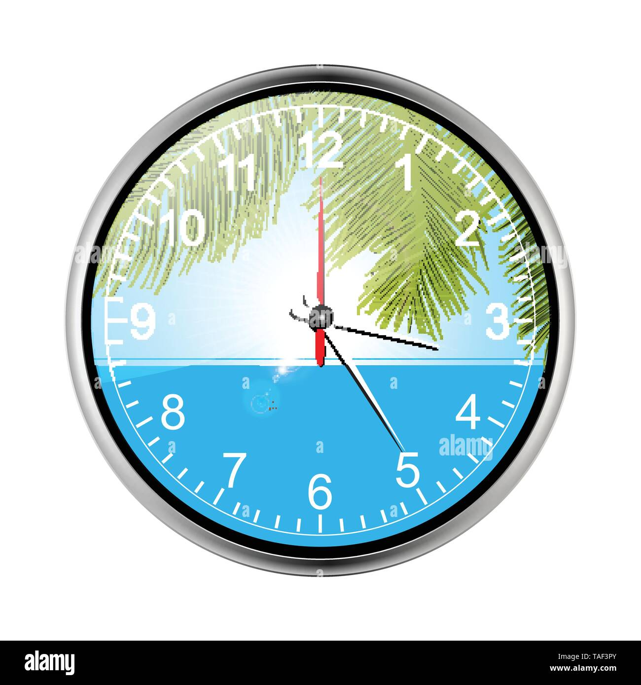 Vocational Summer Tropical Holidays Wall Clock With Palm Trees Sea and Lens Flares Over White Background - Stock Image