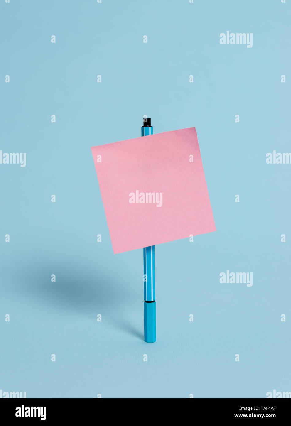 Ballpoint blank colored sticky note peaceful cool pastel fashion background - Stock Image