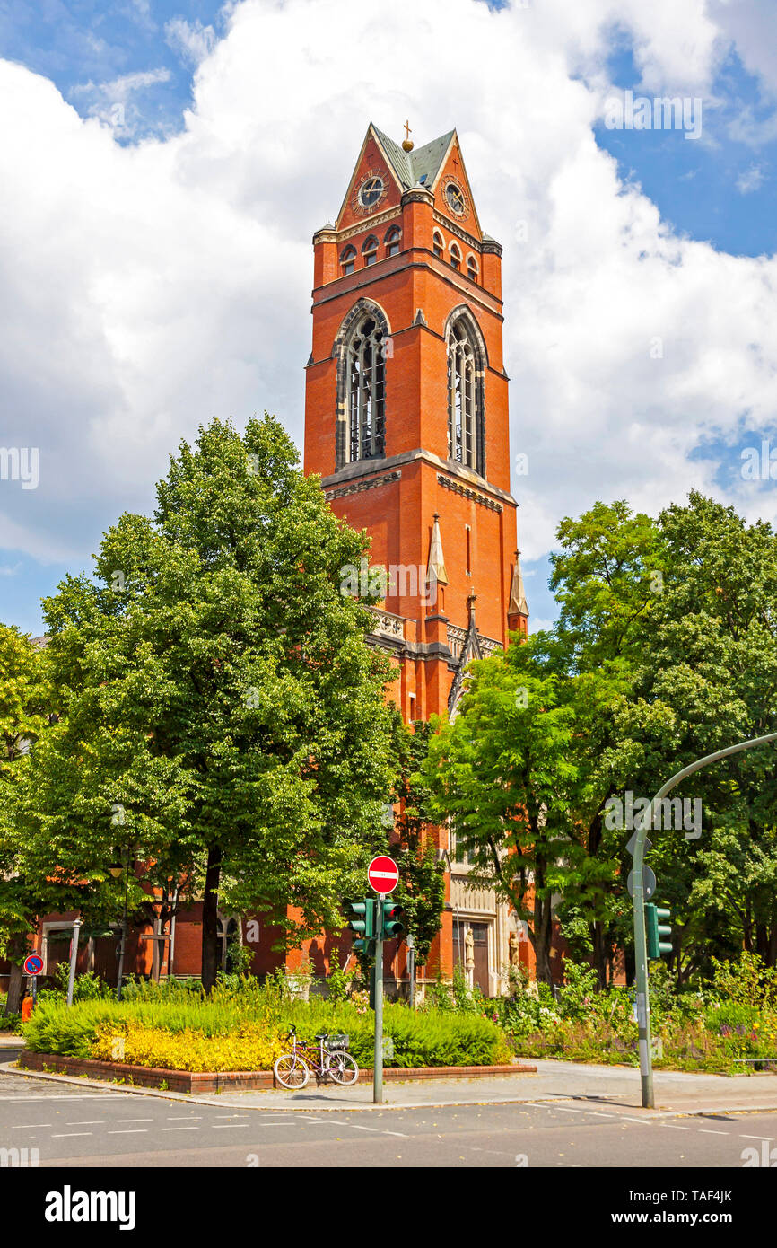 Catholic church of St. Matthias in Berlin, Germany. Stands in the Schoeneberg district on the Winterfeldtplatz. It belongs to one of the oldest and la - Stock Image