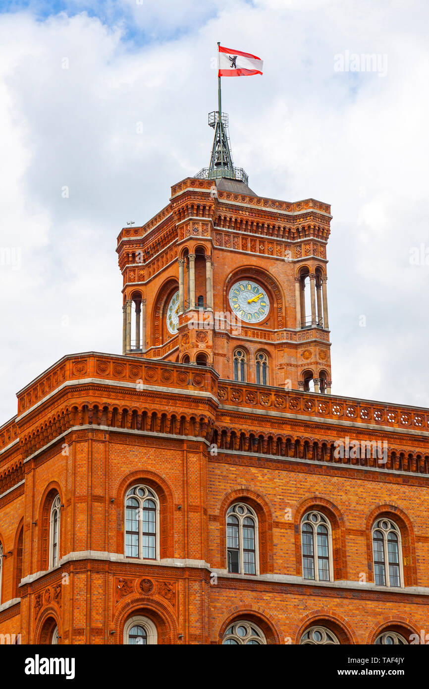 Tower of Berlin City Hall (Rotes Rathaus), Germany. Rathaus is the home to the governing mayor and the government (Senate of Berlin) of the Federal st - Stock Image