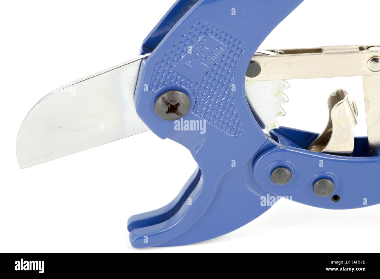 Blue scissors specially used for cutting polypropylene tubes