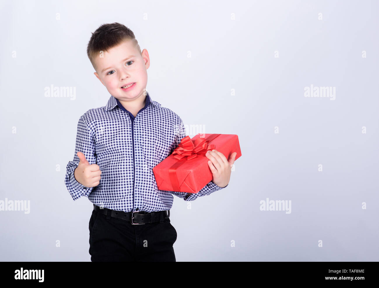 Buy Gifts Child Little Boy Hold Gift Box Christmas Or Birthday Holiday Shopping Seasonal Sale Wellbeing And Positive Emotions