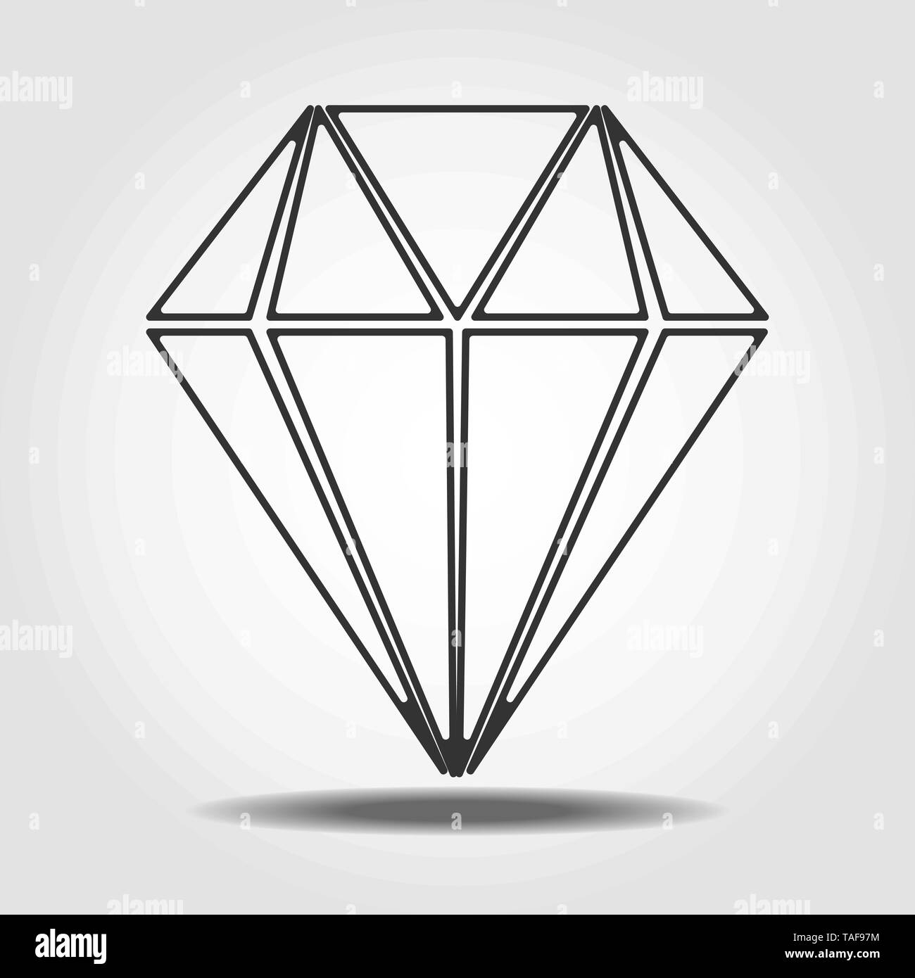 Diamond Icon Vector. Simple flat symbol. Perfect Line pictogram illustration on white background. eps 10 - Stock Image