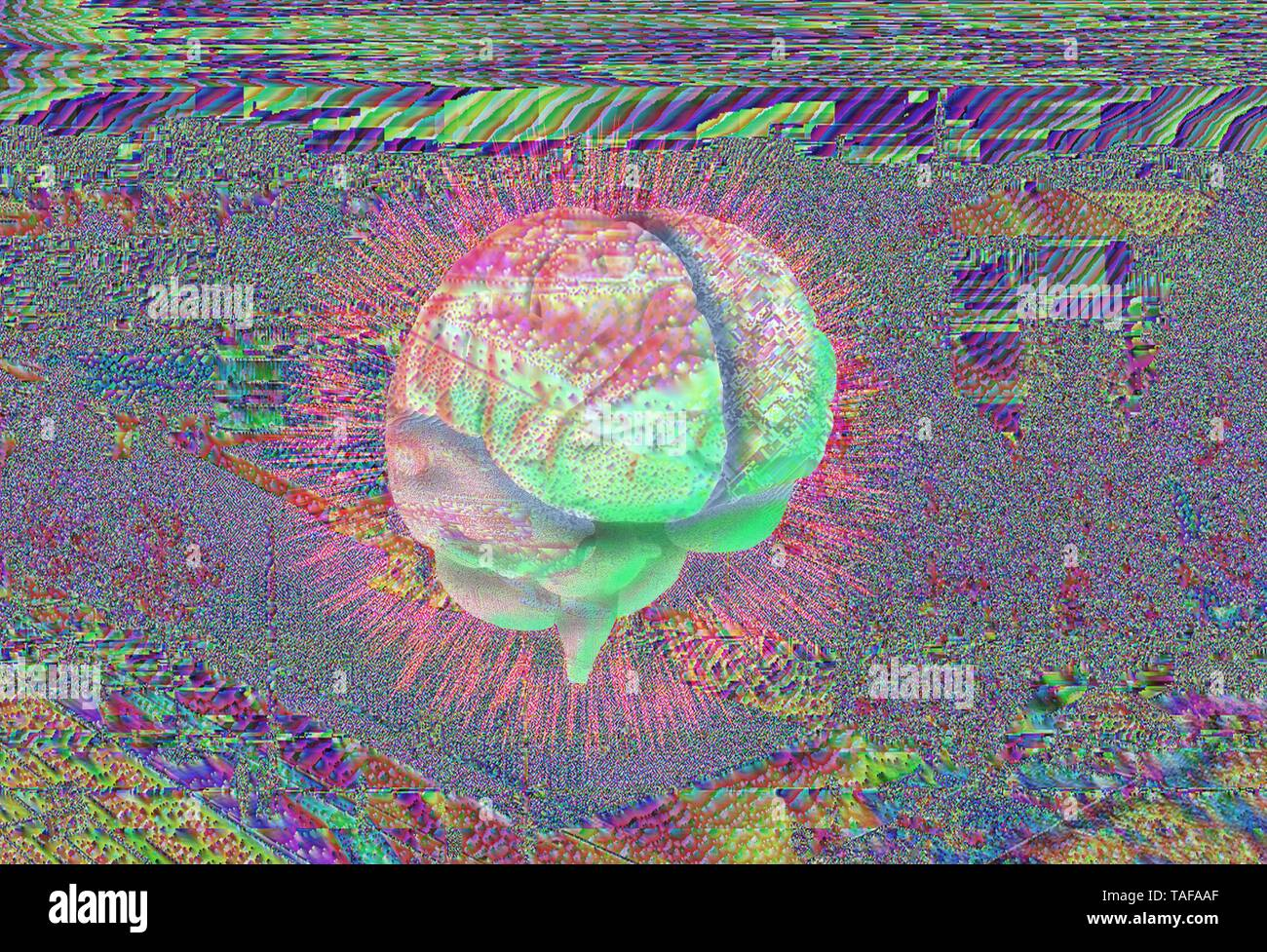 Overstimulated brain in chaotic landscape, illustration - Stock Image