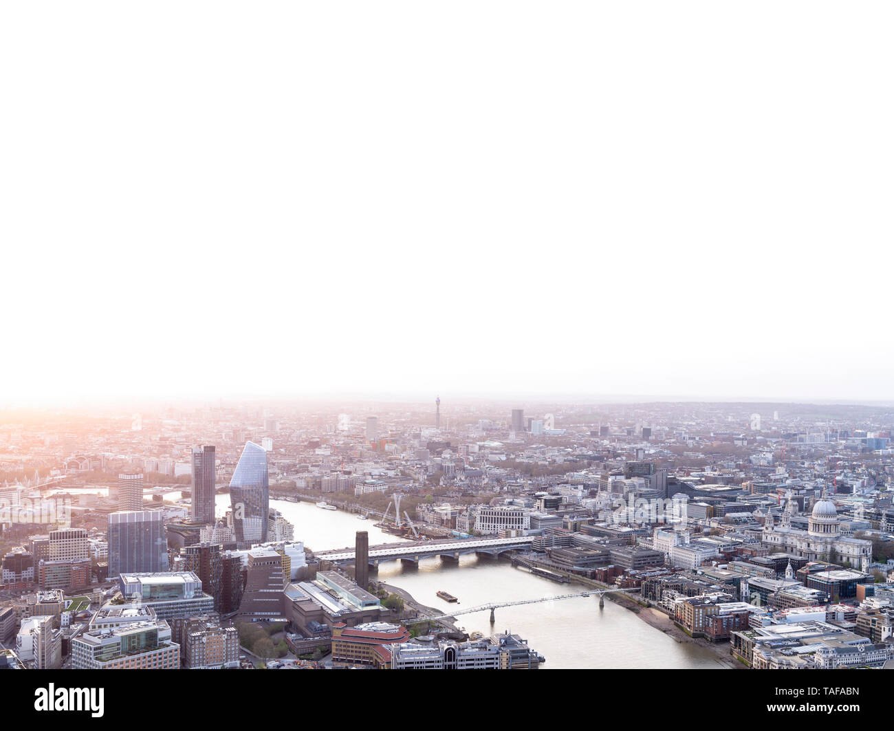 Aerial cityscape of London at sunset - Stock Image