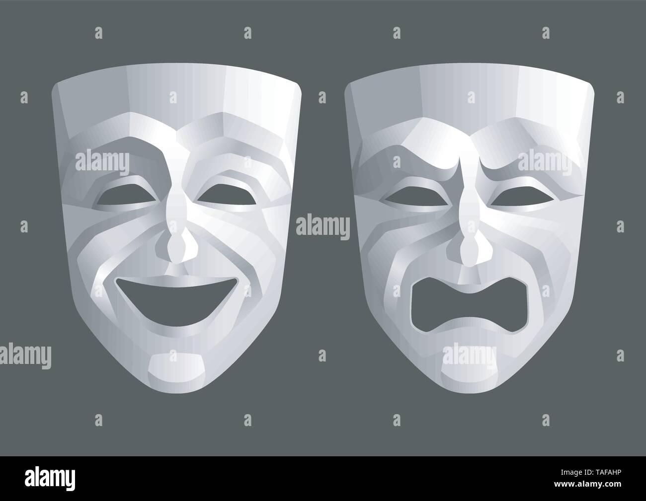 Tragicomic Theater Masks - Stock Image