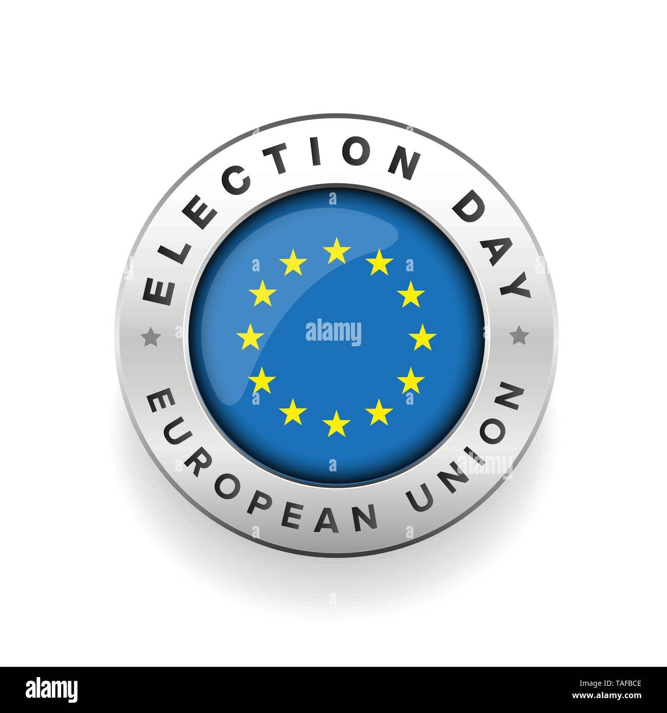 EU election badge sign vector round - Stock Image