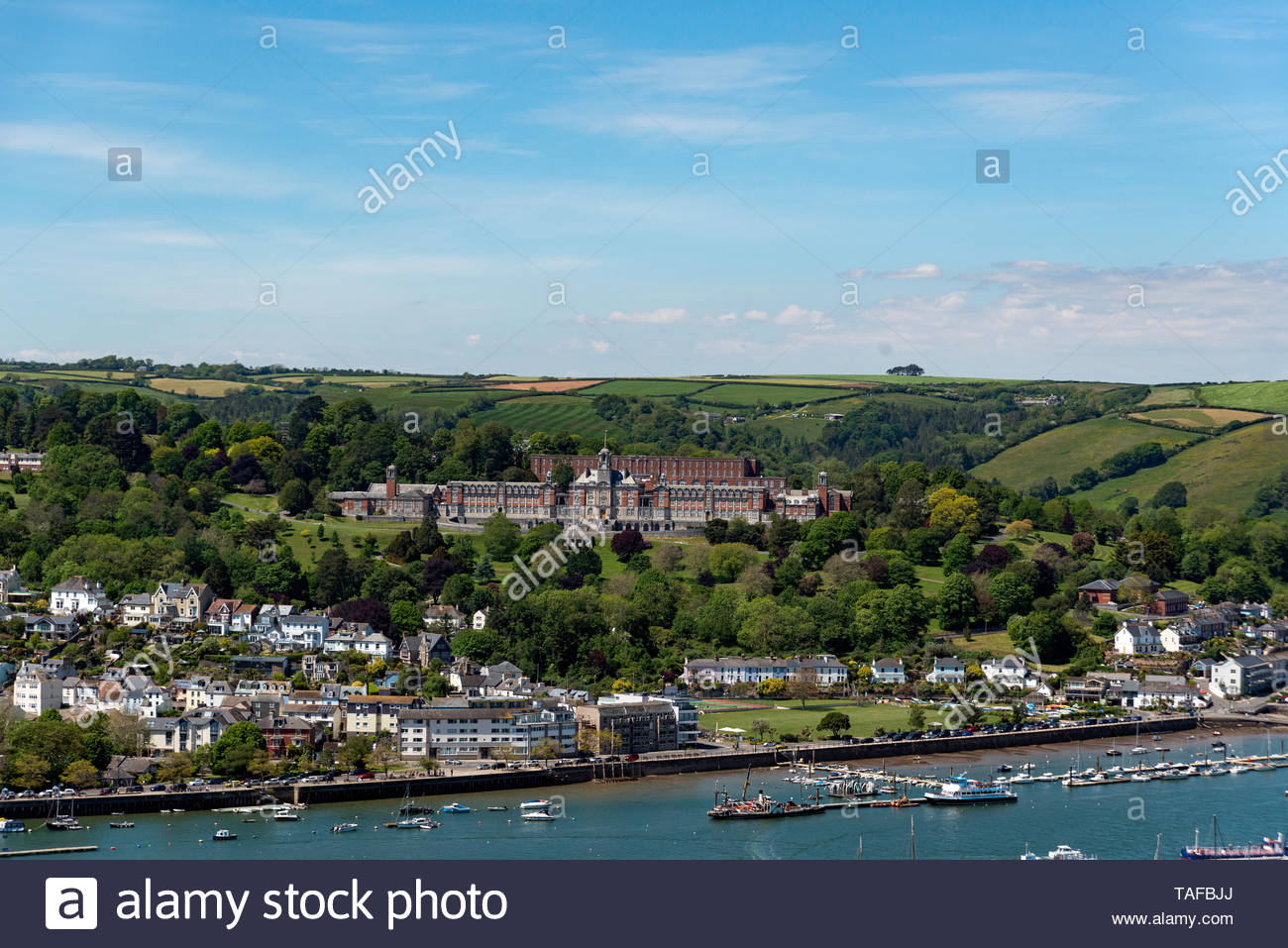 Looking across the River Dart towards Dartmouth and the Royal Naval College. Stock Photo