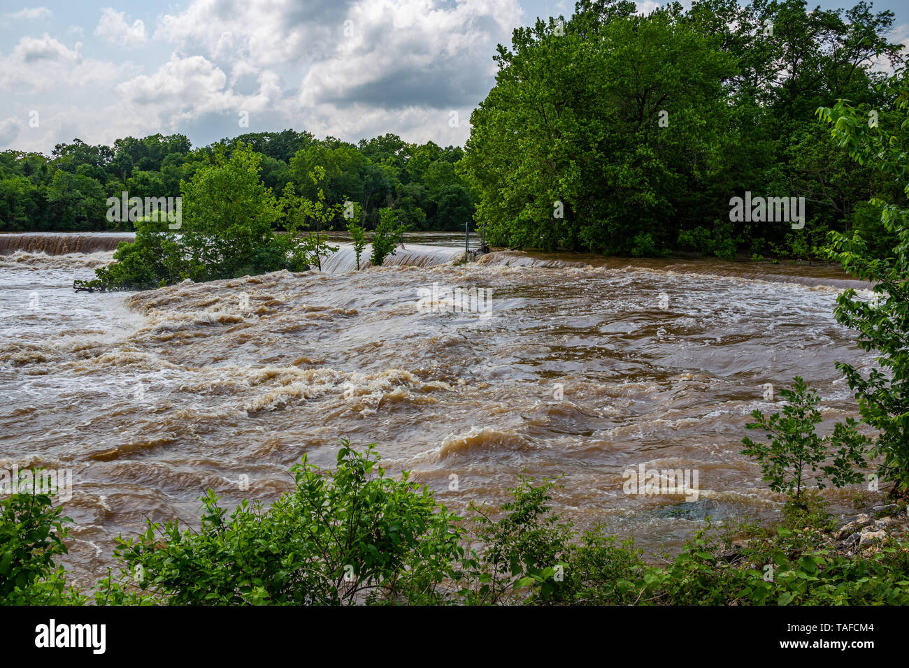 Shoal Creek flooding at Grand Falls in Joplin, Missouri on May 23