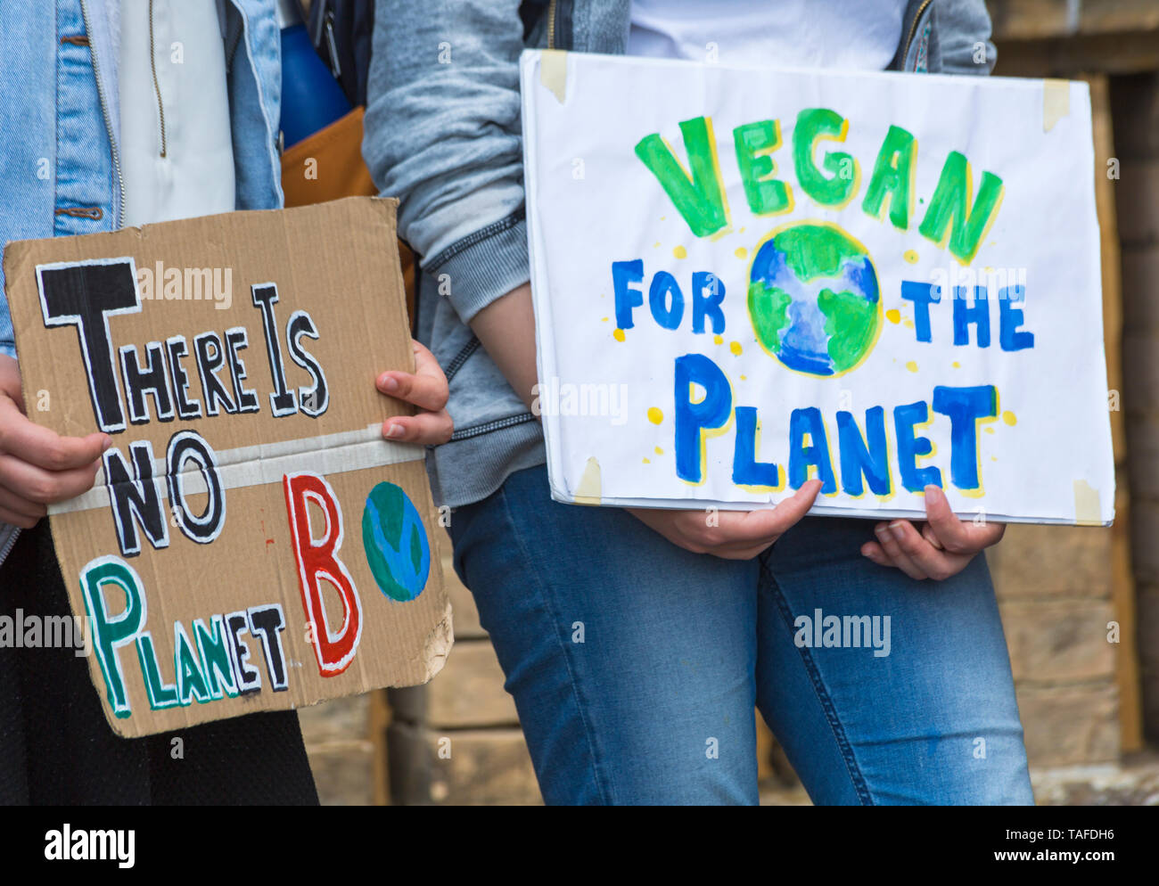 Bournemouth, Dorset, UK. 24th May 2019. Youth Strike 4 Climate gather in Bournemouth Square with their messages about climate change, before marching to the Town Hall.  There is no planet B, vegan for the planet Earth signs. Credit: Carolyn Jenkins/Alamy Live News Stock Photo