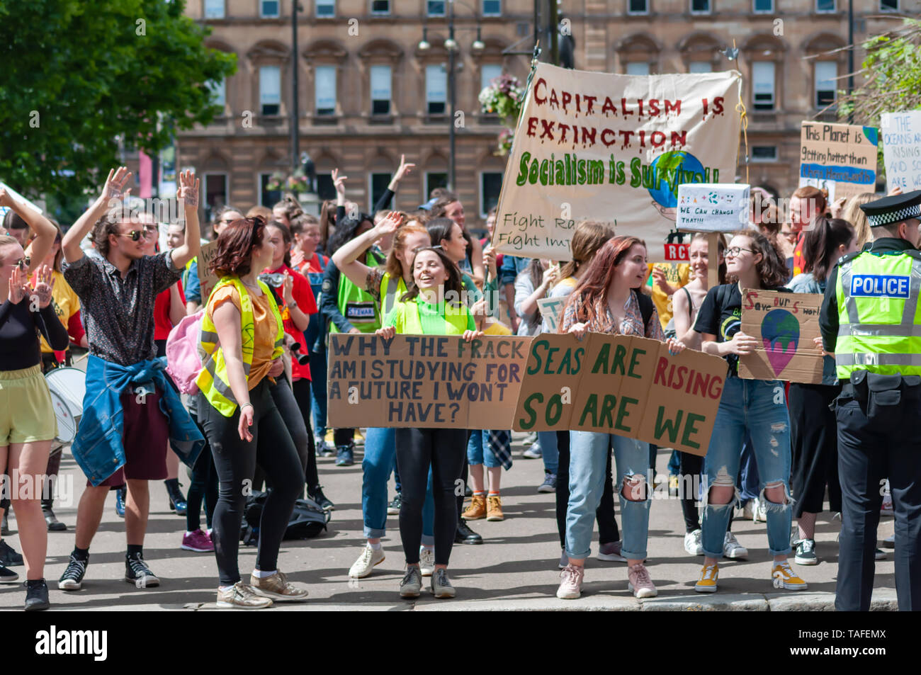Glasgow, Scotland, UK. 24th May, 2019. Youth Strike 4 Climate student demonstration. Students across the UK are protesting against climate change and the lack of action by the Government.  Credit: Skully/Alamy Live News Stock Photo