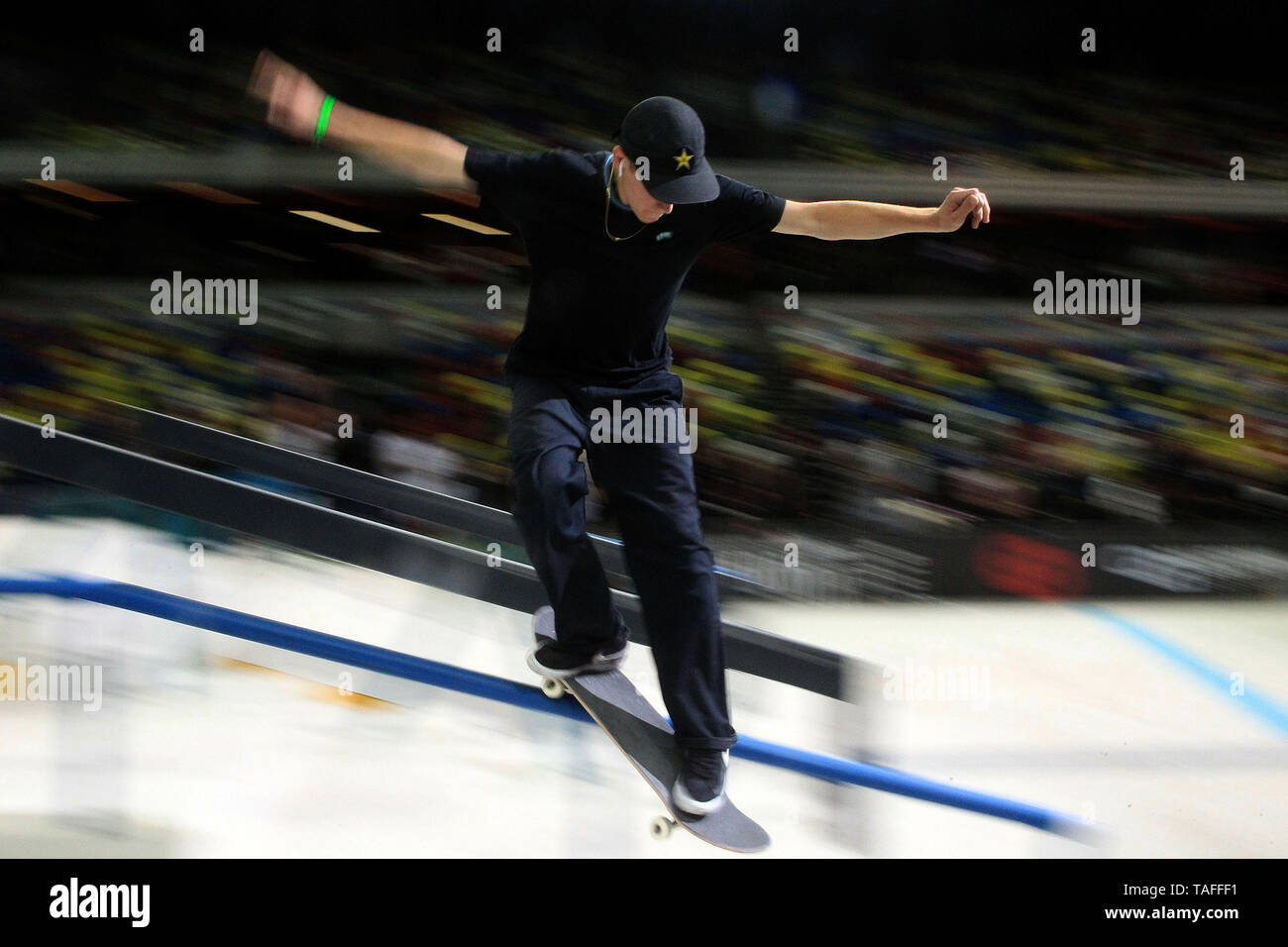 London, UK  24th May, 2019  A male skate boarder in action during