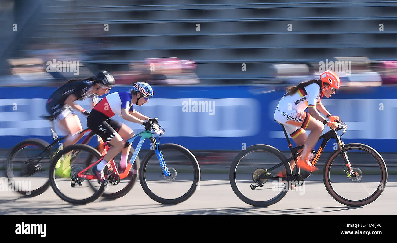 From right PAULINE FERRAND-PREVOT of Germany and ELISABETH BRANDAU of France in action during the  women elite Cross Country Mountain Bike World Cup event in Nove Mesto na Morave, Czech Republic, May 24, 2019,. (CTK Photo/Lubos Pavlicek) Stock Photo