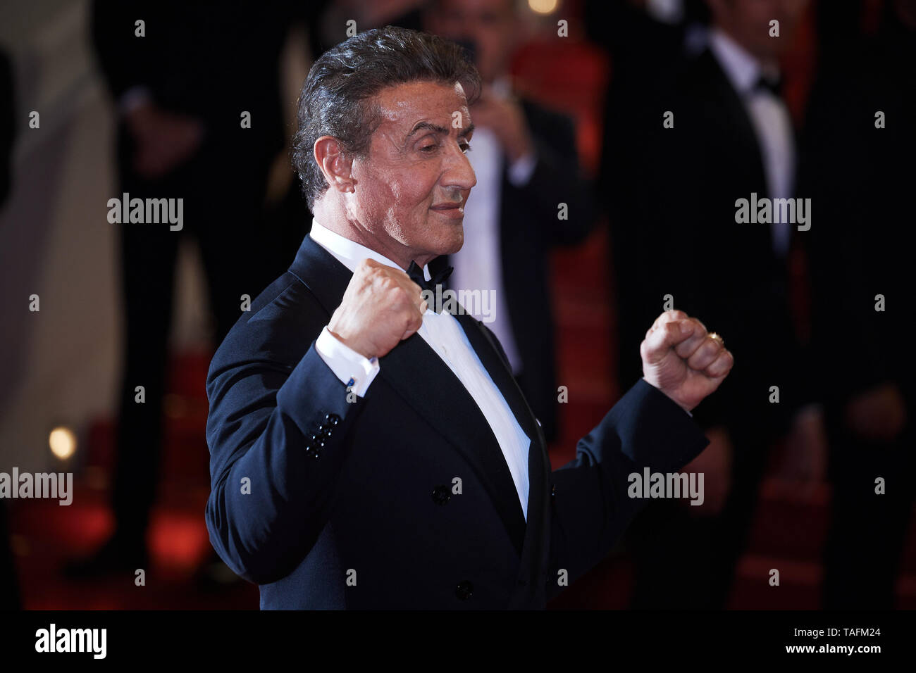 Cannes, France. 24th May, 2019. CANNES, FRANCE - MAY 23: Actor Sylvester Stallone attends the screening of 'Rambo - First Blood' during the 72nd annual Cannes Film Festival on May 24, 2019 in Cannes, France. (Photo by Oleg Nikishin/TASS) Credit: ITAR-TASS News Agency/Alamy Live News - Stock Image