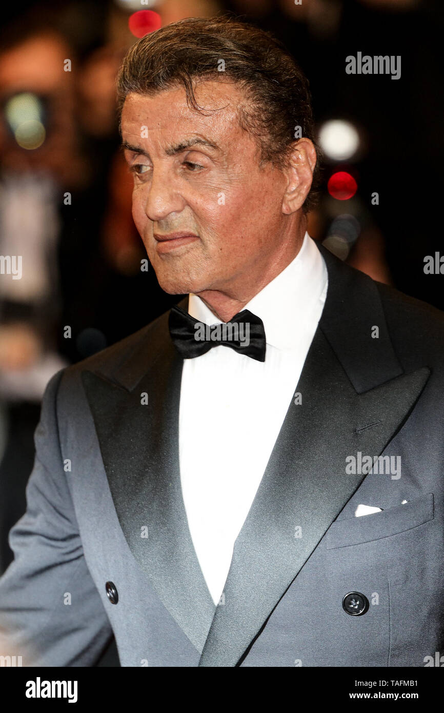 Cannes, France. 24th May, 2019. CANNES - MAY 24: Sylvester Stallone arrives to the premiere of ' HOMMAGE A SYLVESTER STALLONE - RAMBO: FIRST BLOOD ' during the 2019 Cannes Film Festival on May 24, 2019 at Palais des Festivals in Cannes, France. (Photo by Lyvans Boolaky/imageSPACE) Credit: Imagespace/Alamy Live News - Stock Image