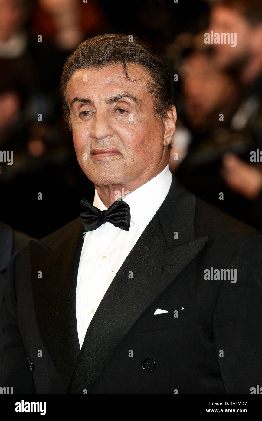 Cannes. 24th May, 2019. Sylvester Stallone arrives to the premiere of ' HOMMAGE A SYLVESTER STALLONE - RAMBO: FIRST BLOOD ' during the 2019 Cannes Film Festival on May 24, 2019 at Palais des Festivals in Cannes, France. ( Credit: Lyvans Boolaky/Image Space/Media Punch)/Alamy Live News - Stock Image