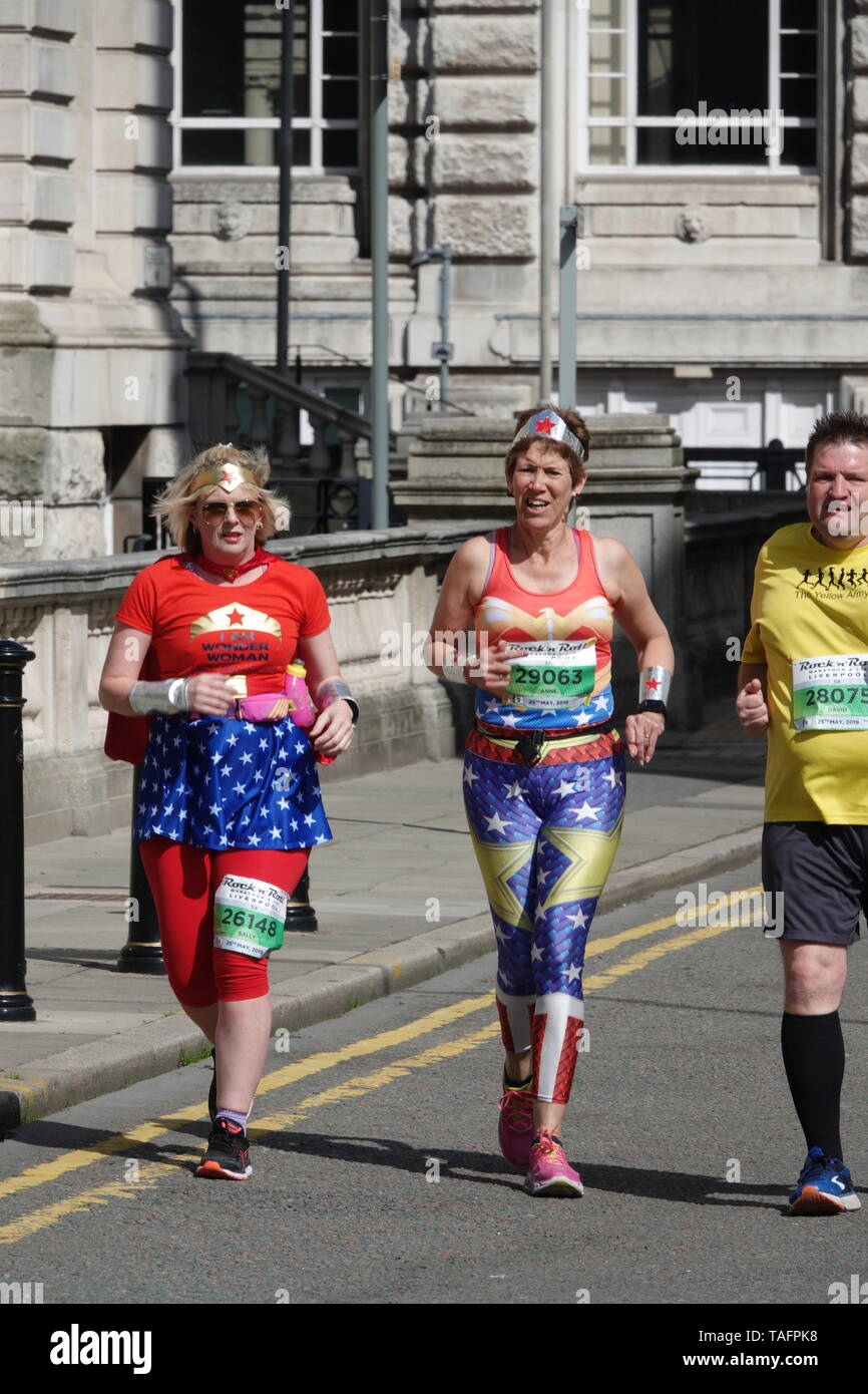 Liverpool UK, 25th May 2019  Runners taking part in the Rock