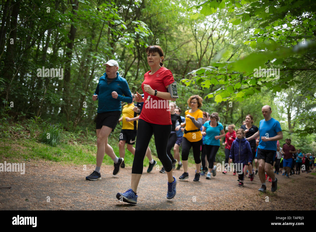 Glasgow, UK. 25th May, 2019. The 534th free and timed Parkrun event takes place in Pollok Country Park, with local running club Bellahouston Harriers doing a volunteer-takeover, with their club runners fulfilling all the volunteer positions on the run course, in Glasgow, Scotland, on 25 May 2019. This Parkrun was the 534th free and timed Parkrun 5km run held in the park in Glasgow's Southside, and is one of hundreds of such all-inclusive events held across the UK and internationally every weekend under the Parkrun banner. Credit: jeremy sutton-hibbert/Alamy Live News Stock Photo