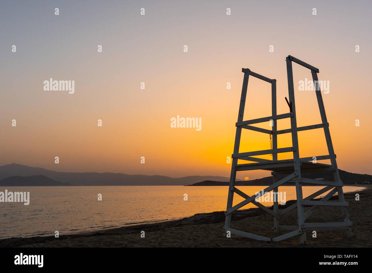View of the sunset from Agios Prokopios beach, Naxos, Greece Stock Photo
