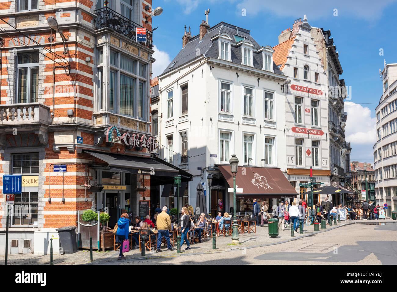 Famous Café Leffe Place du Grand Sablon Brussels Belgium Eu Europe Stock Photo