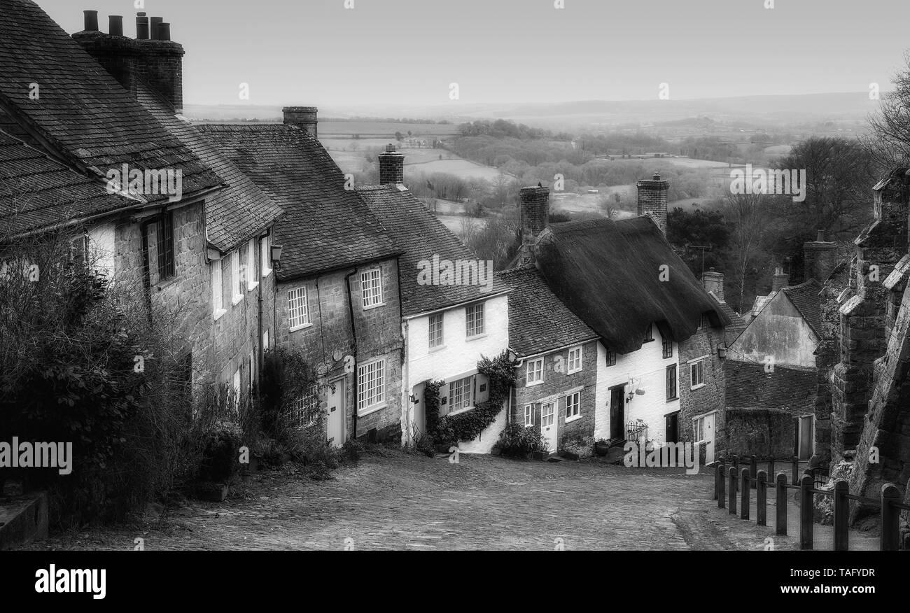 Gold Hill, Shaftesbury, Dorset. - Stock Image