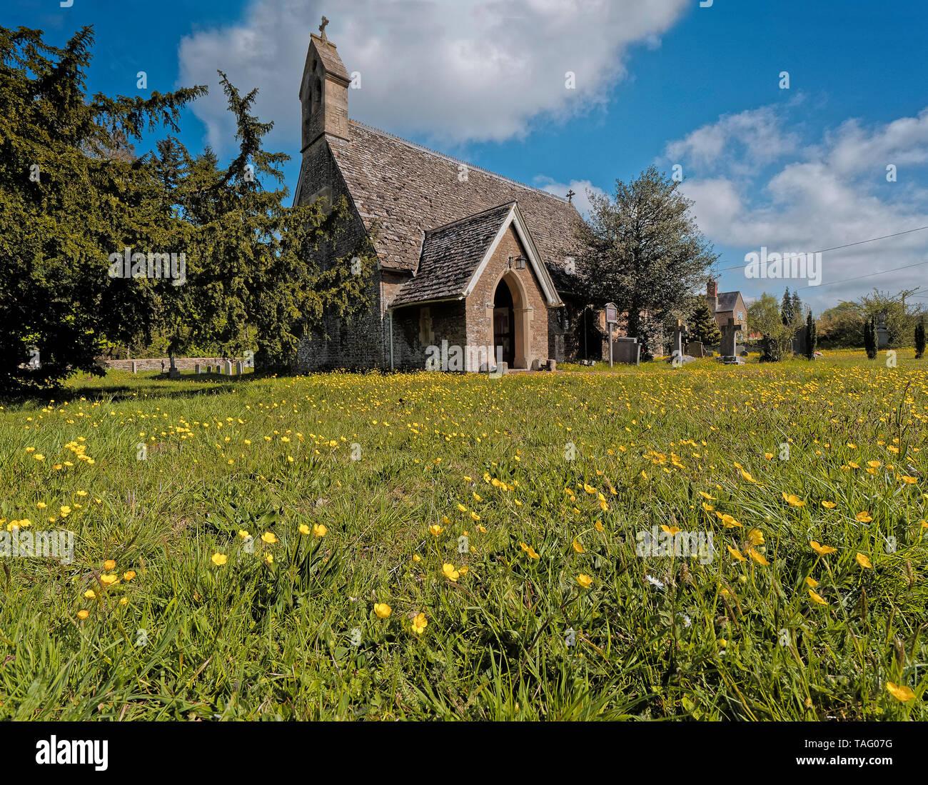 Exterior of St Lawrence Church, Tubney, Oxfordshire, UK - Stock Image