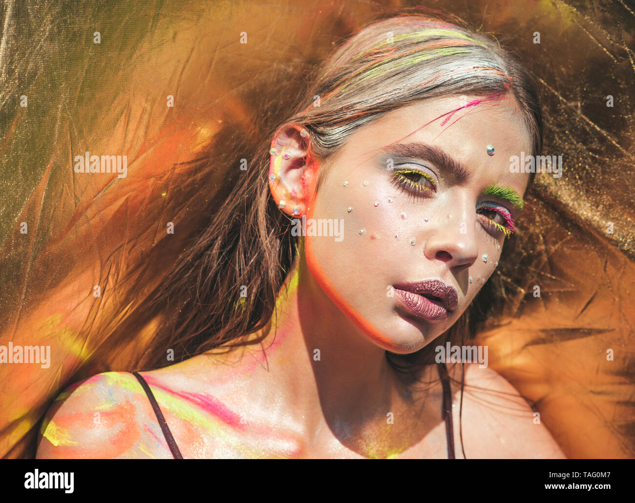 Holi Indian Culture Indian Woman With Colorful Neon Paint Makeup Face Visage Make Up Body Art Paint Party Colors Festival Girl Beauty Fashion Stock Photo Alamy
