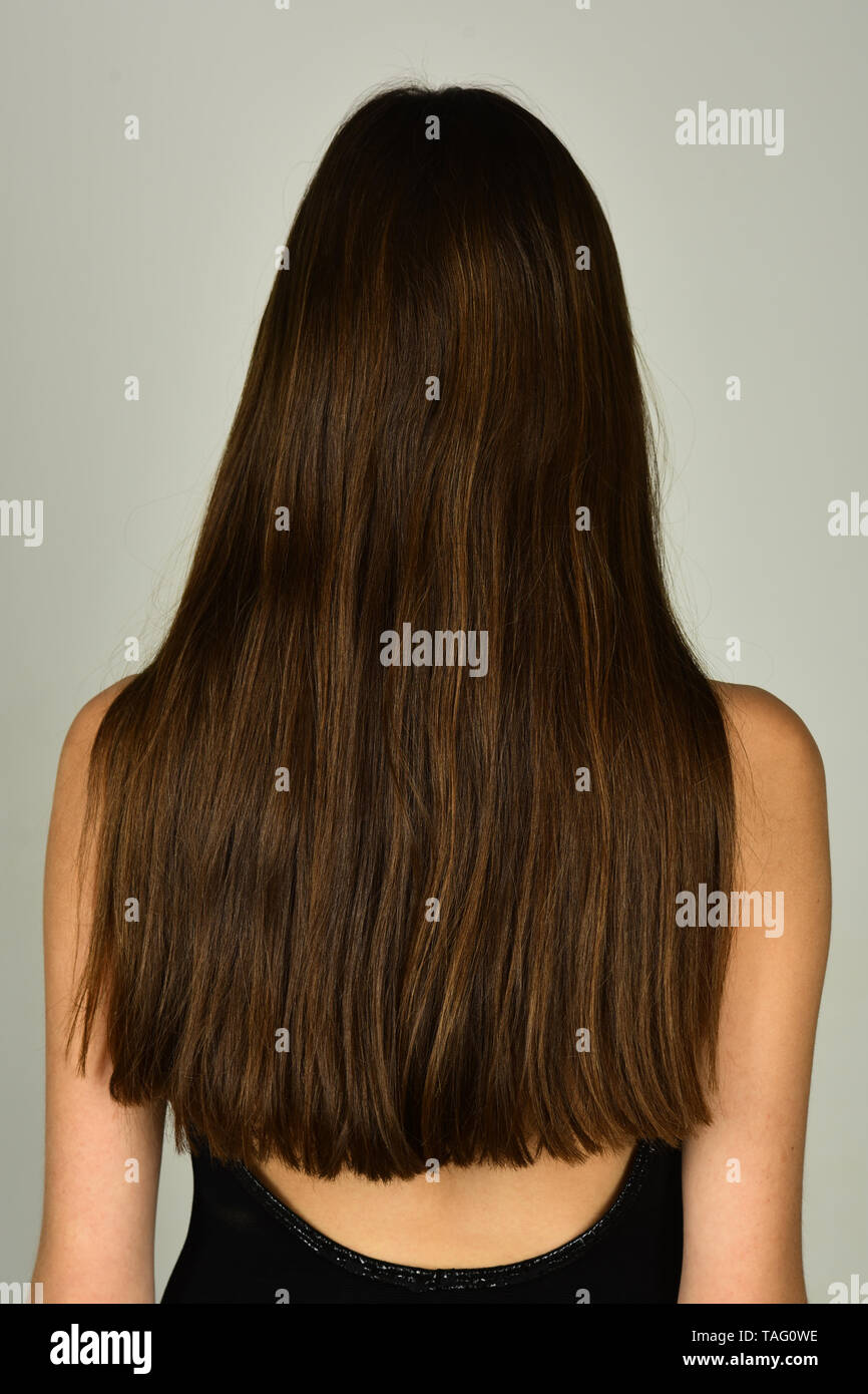 Woman with long brunette hair, back view. Girl with healthy hair