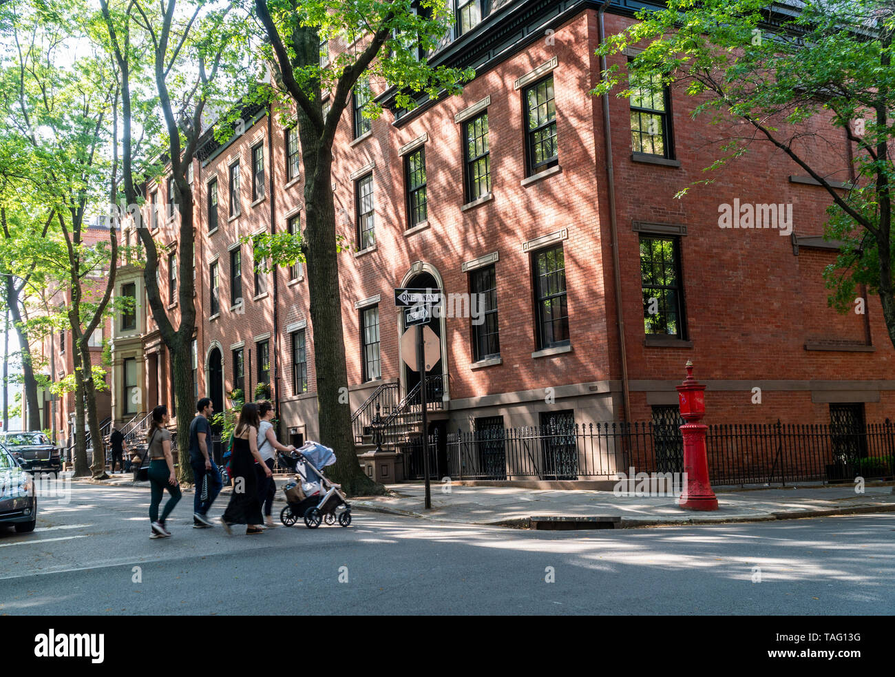 Homes on Cranberry Street in the Brooklyn Heights neighborhood of New York on Sunday, May 19, 2019. (© Richard B. Levine) - Stock Image