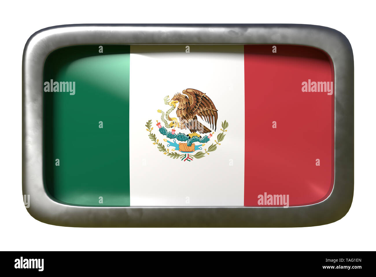 3d rendering of a Mexico flag on a rusty sign isolated on white background - Stock Image