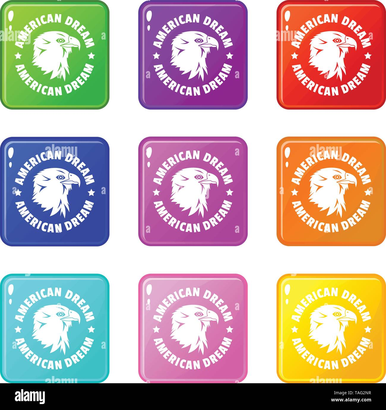 American dream eagle icons set 9 color collection - Stock Image