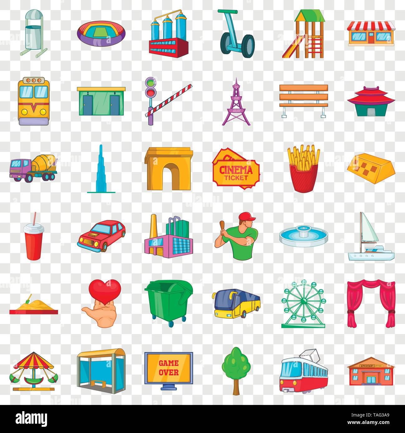 Life in town icons set, cartoon style - Stock Image